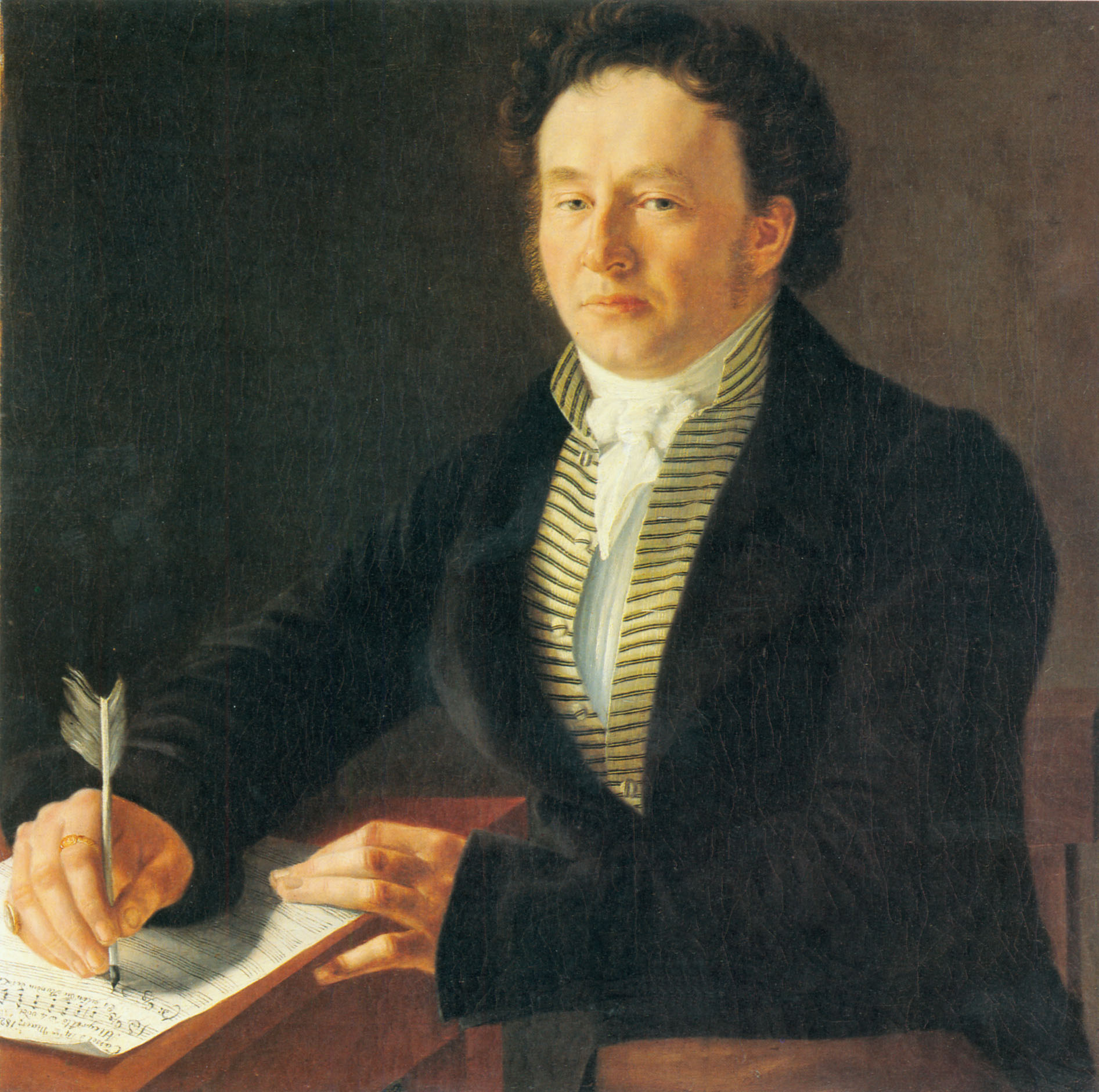 Portrait des Komponisten Ludwig Spohr 1824 in Kassel oil on canvas 64 x 64 cm